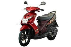 Rental motor yamaha mio soul belitung warna merah maroon
